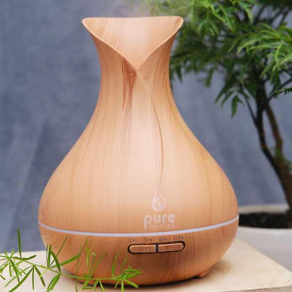 Máy xông tinh dầu Hoa Tulip Vân Gỗ Pure dung tích 500ml