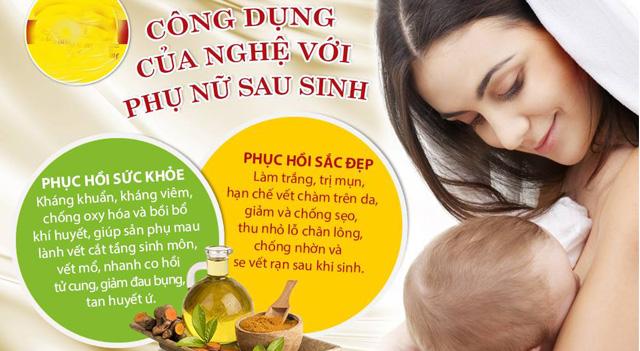 Tác dụng của tinh bột nghệ cho phụ nữ sau sinh
